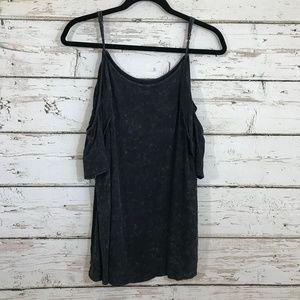 Mono b cold shoulder gray ruffle top